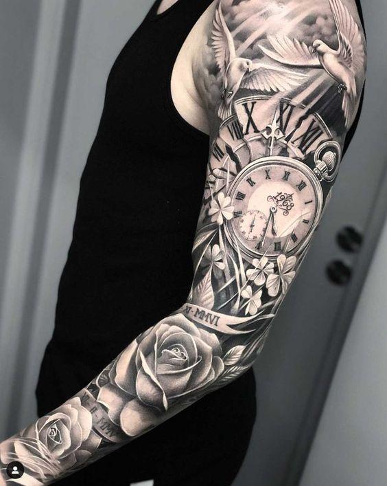 hình xăm đồng hồ cổ và hoa hồng full kín tay