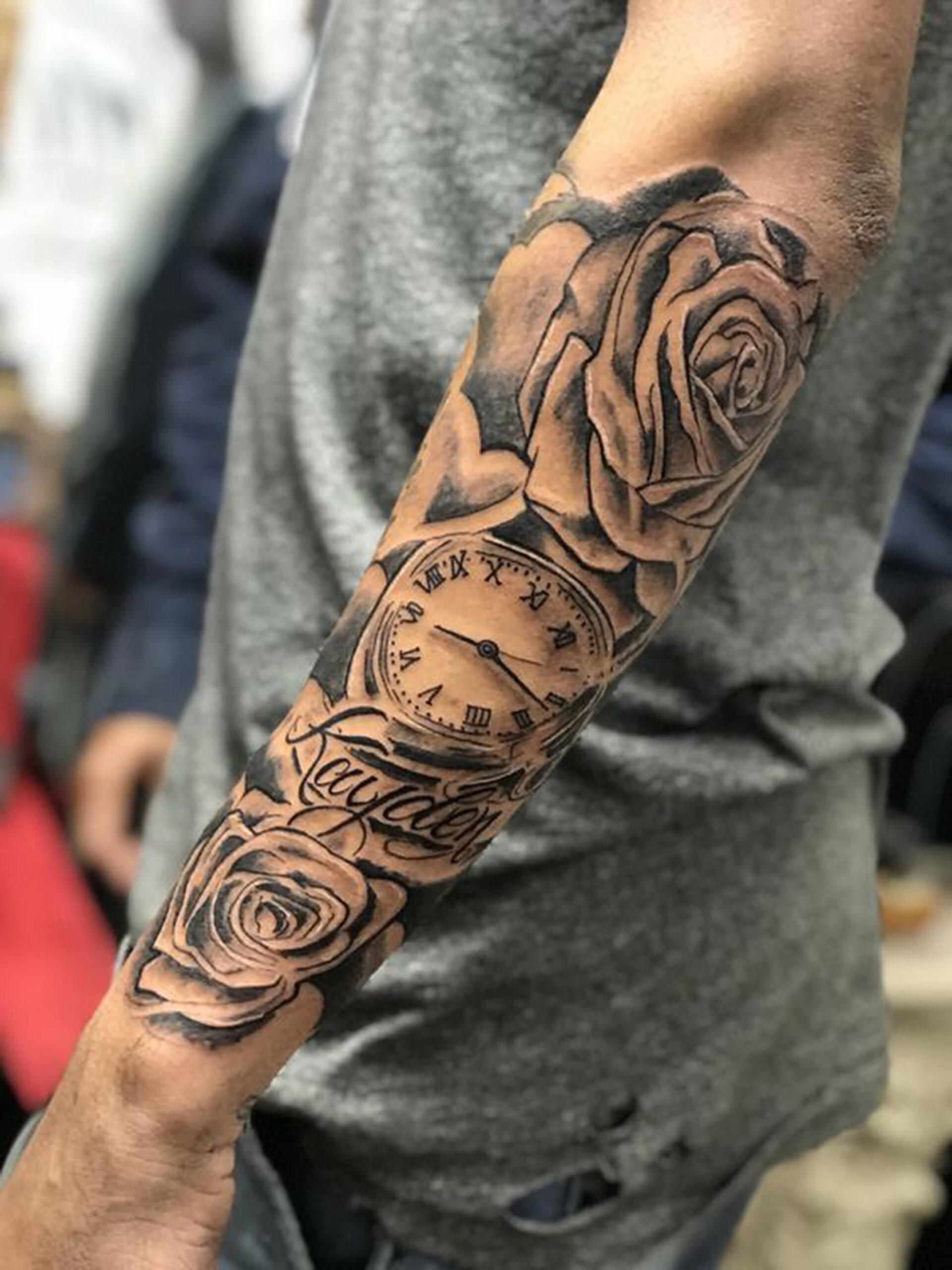tổng hợp những hình xăm đồng hồ cổ và hoa hồng
