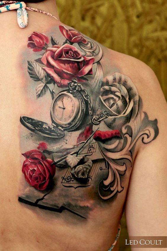 Nguồn gốc hình xăm hoa hồng đồng hồ là ở phương tây