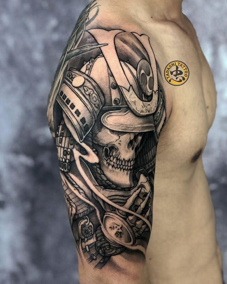 hình xăm samurai xương