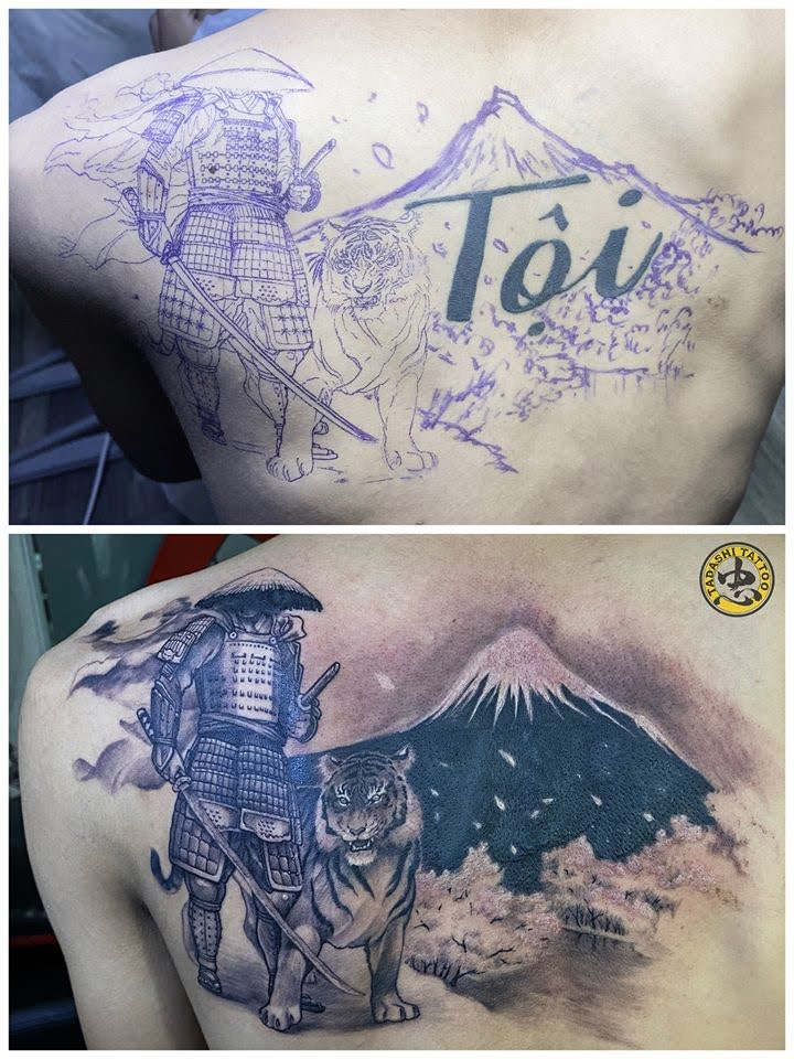 cover up tattoo samurai