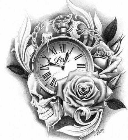 mẫu design hoa hồng và đồng hồ la mã
