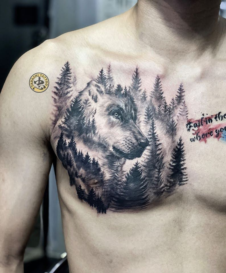 xăm hình đầu chó sói