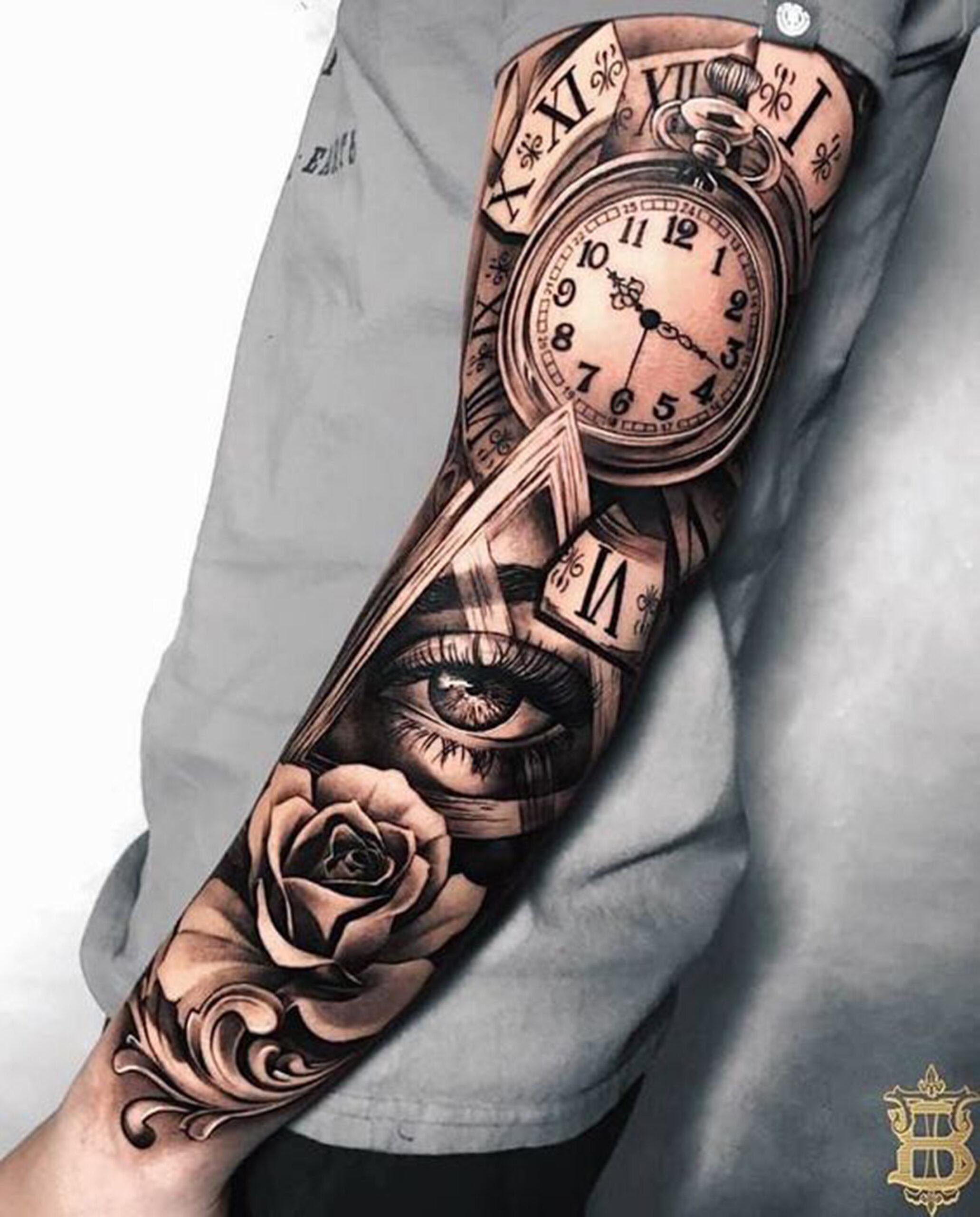 hình xăm đồng hồ la mã với hoa hồng full kín tay