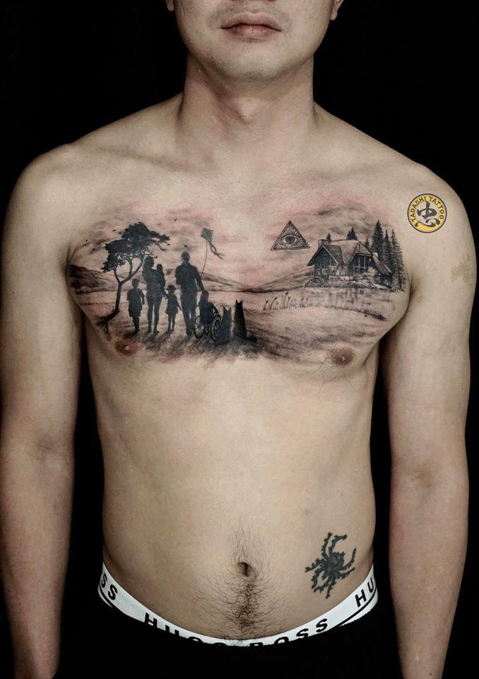 hình xăm phong cảnh trước ngực cho tuổi 1980 giá rẻ tại tadashi tattoo