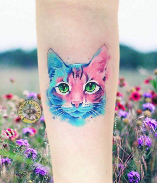 hình xăm mèo dễ thương cho các nữ giới bính dần