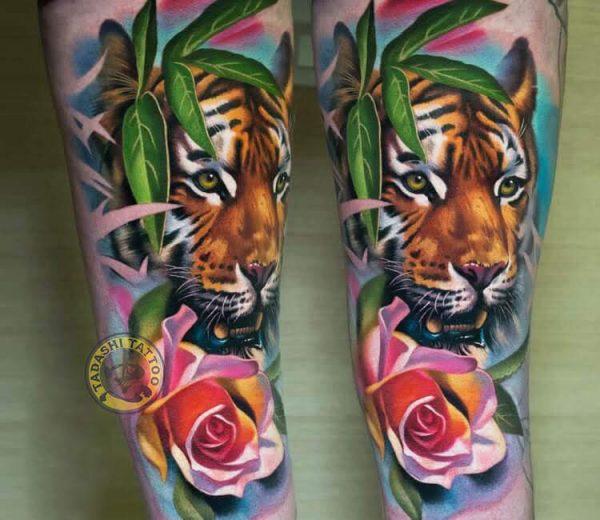 Hình xăm con hổ có thể xăm tại các vị trí như bắp tay, cổ chân,...