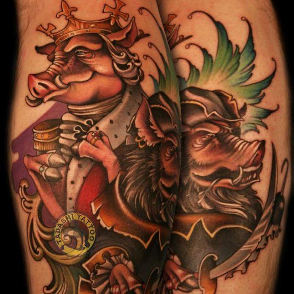 hình xăm hai chú lợn đầy tính nghệ thuật và thẩm mĩ cho người tuổi đinh mão