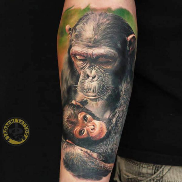 Hình xăm con khỉ hợp người tuổi 1997