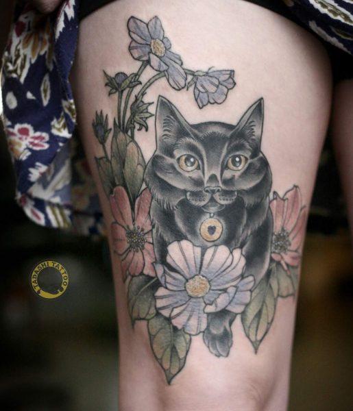 Hình xăm con mèo có thể xăm tại các vị trí như bắp tay, lưng,...tuỳ theo nhu cầu và sở thích của người xăm