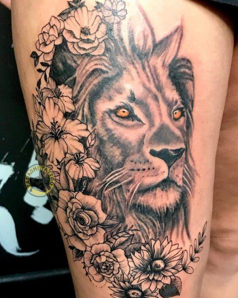 hình xăm sư tử cho nữ