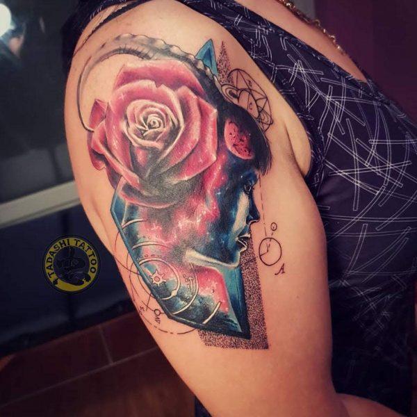 Hình xăm cung ma kết kết hợp hoa hồng đẹp nhất