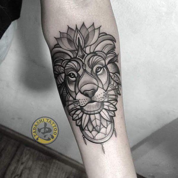 biểu tượng hình xăm cung sư tử đại diện cho sự dũng mãnh, lòng can đảm