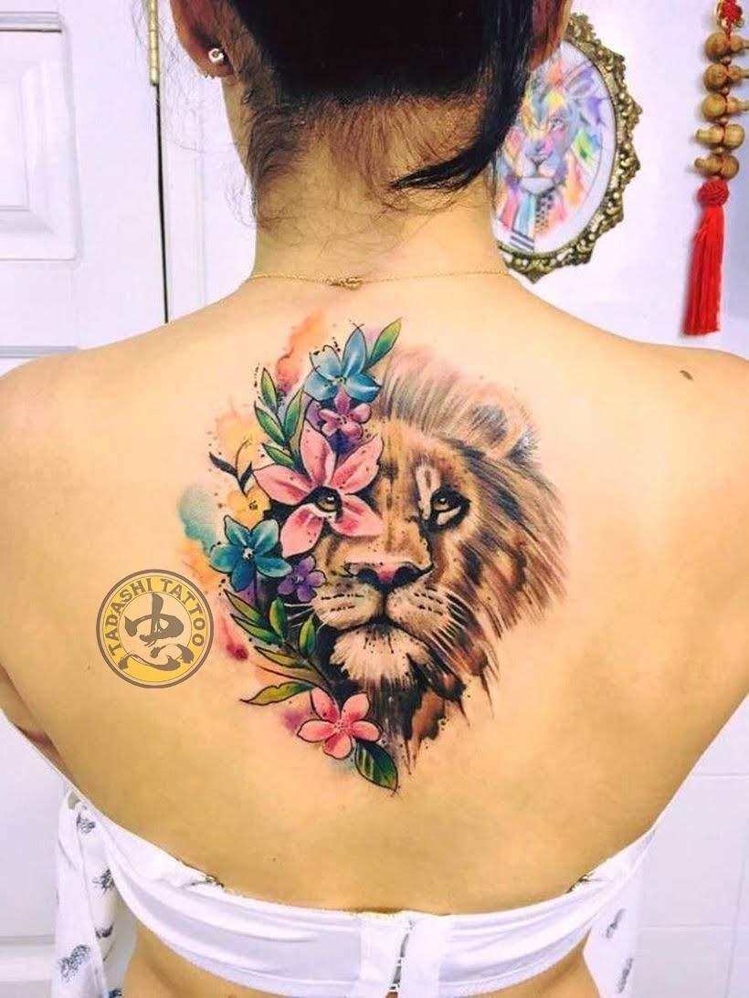 hình xăm cung sư tử ở lưng độc đáo