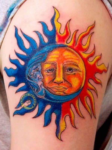 Hình xăm mặt trời chính là mẫu hình xăm phù hợp với tính cách của những người thuộc tuổi Mậu Dần 1998