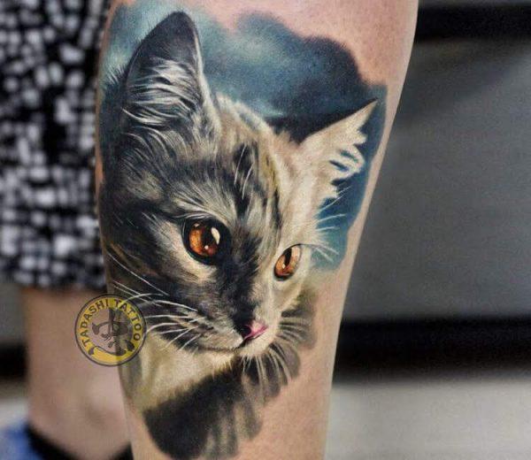 Hình xăm chú mèo dễ thương được các bạn nữ sinh năm 1982 ưa thích