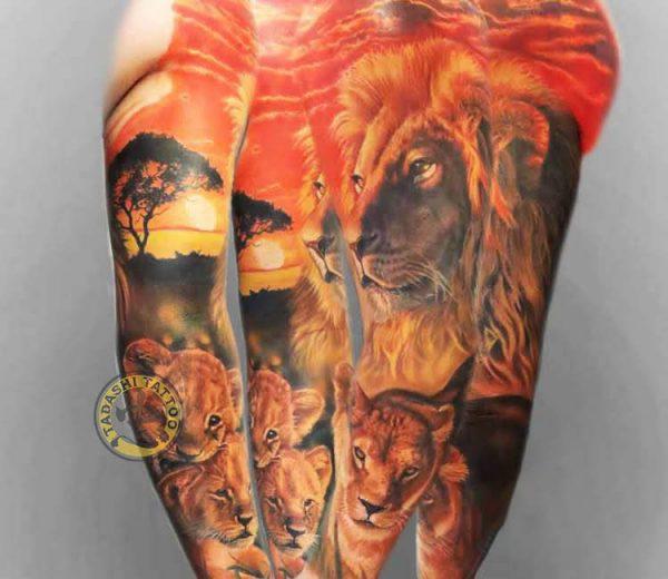 Lựa chọn màu sắc hình xăm sư tử