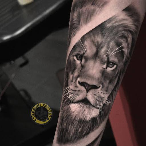 hình xăm sư tử ở cánh tay