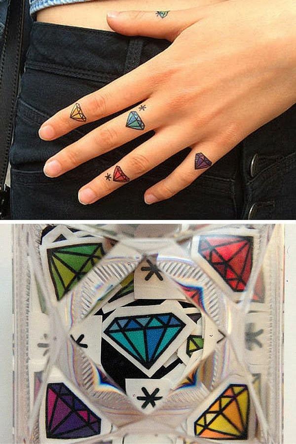 hình xăm kim cương màu