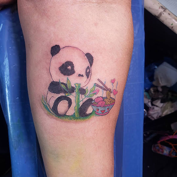 xăm panda ở chân