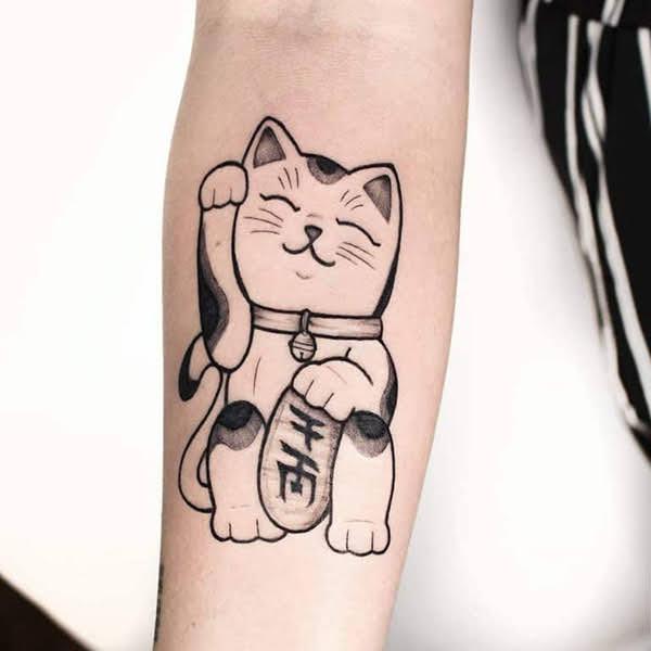 xăm hình mèo thần tài đẹp
