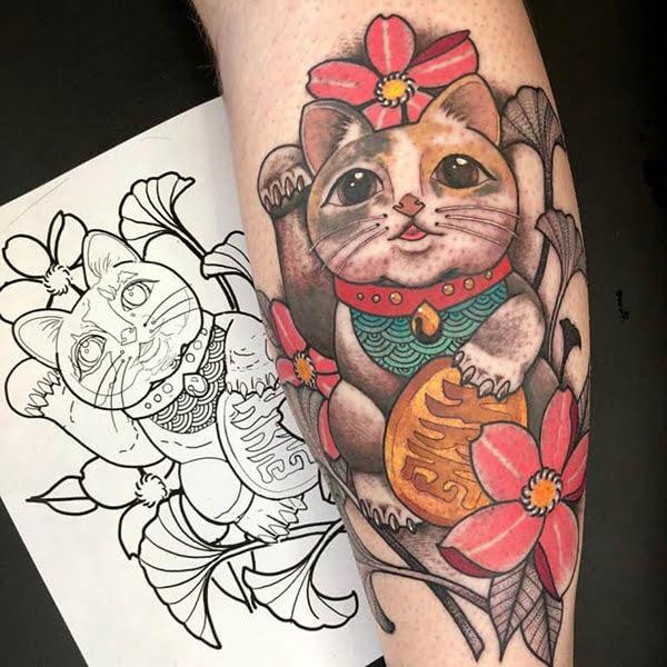 hình xăm mèo thần tài đẹp