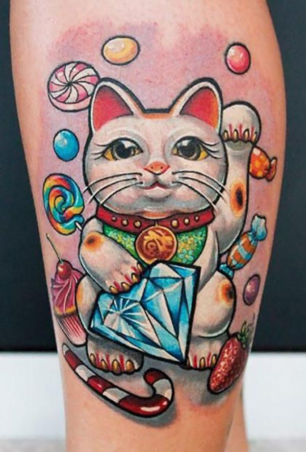hình xăm mèo thần tài mini