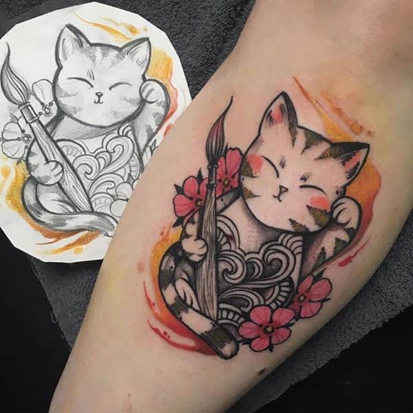 hình xăm mèo thần tài nhỏ
